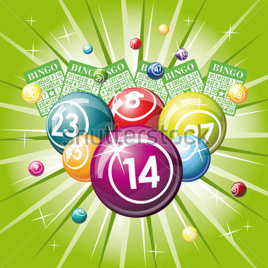 bingo or lottery balls and cards on green background 70024267